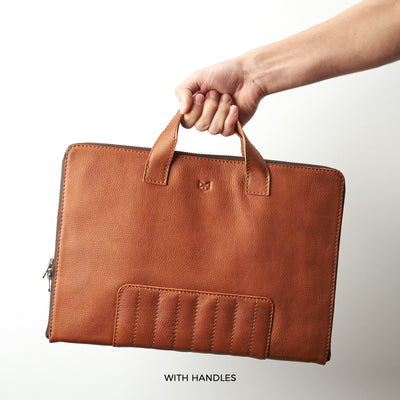 Optional handles. Business slim brown laptop bag folio. Device bag folio.