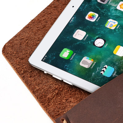 Anti screen scratch. Tan leather sleeve for Pixel Slate. Mens gifts