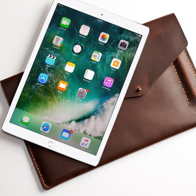 Google mens case. Tan leather sleeve for Pixel Slate. Mens gifts