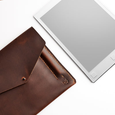 Style. Tan brown handcrafted leather reMarkable tablet case. Folio with Marker holder. Paper E-ink tablet minimalist sleeve design.
