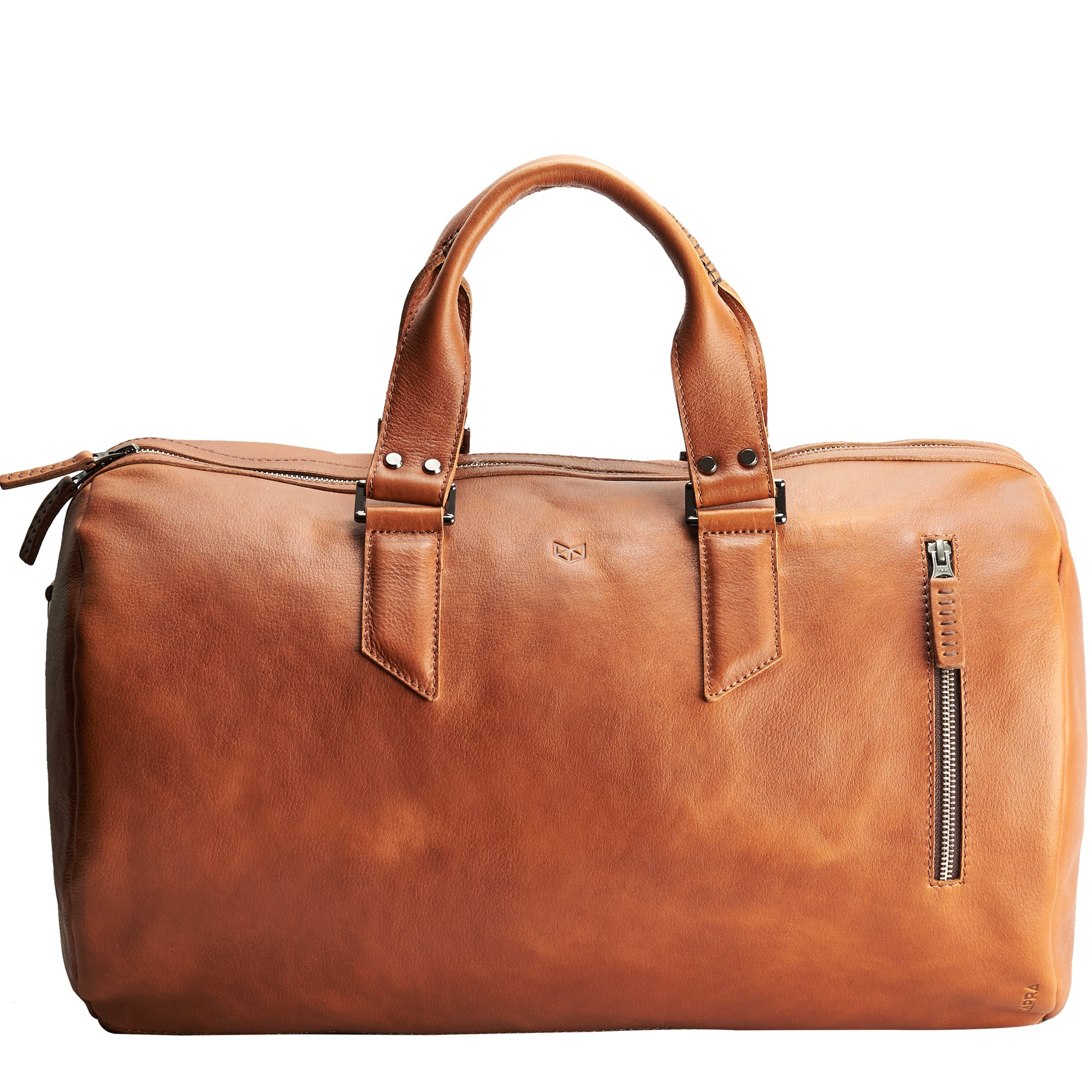 Handmade Tan brown leather duffle bag for men. Mens designer shoulder bag