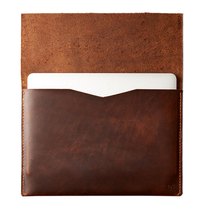 "open case in tan leather. Dell XPS 13"" 15"" sleeve by Capra Leather"