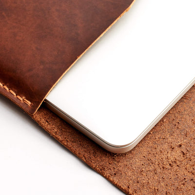 "Interior detail tan leather case. from Dell XPS 13"" 15"" sleeve"