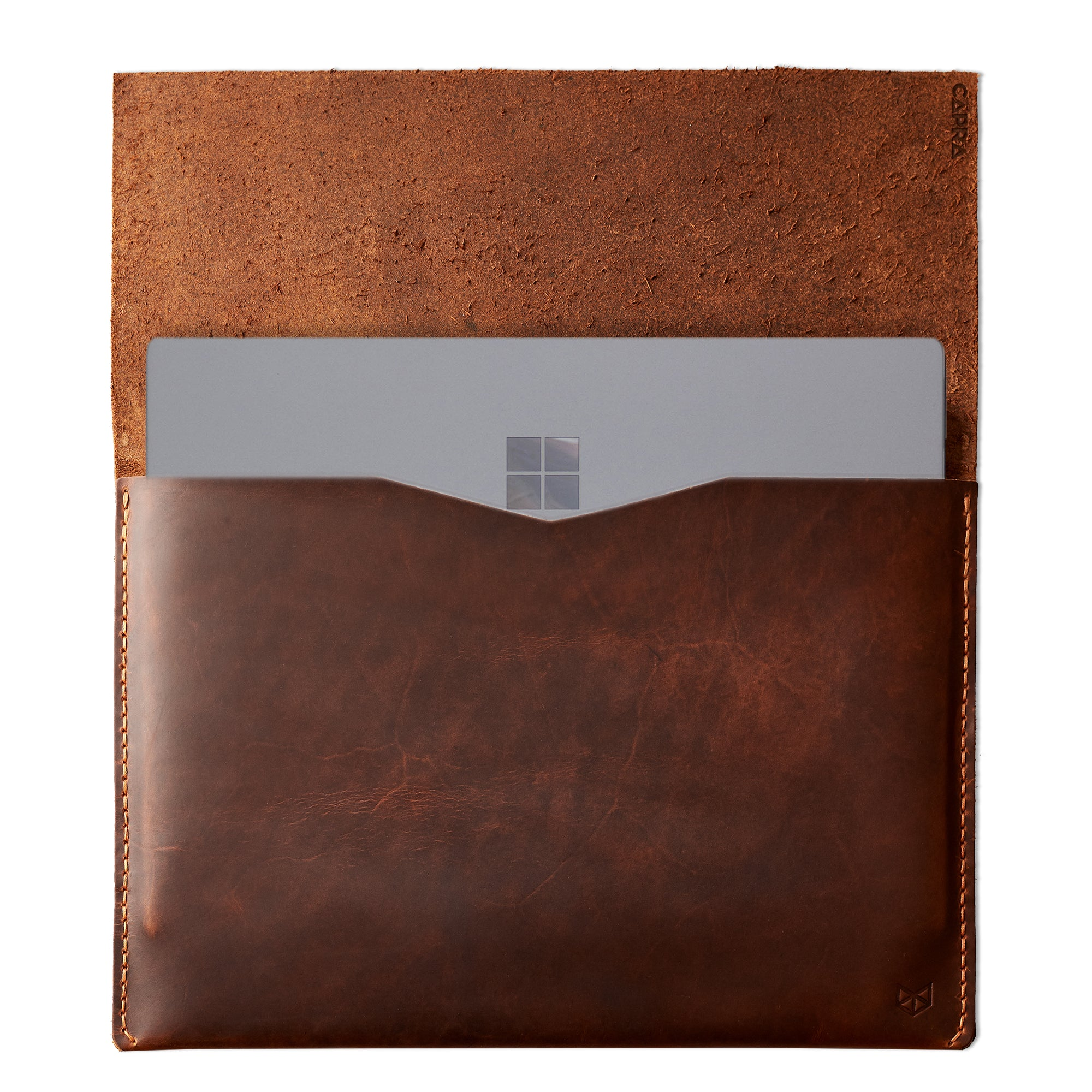 Tan brown leather Macbook pro touch bar sleeve. Designer unique mens cases. Hand stitched Macbook Pro sleeve