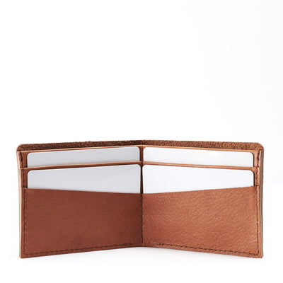 Open. Leather light brown slim wallet gifts for men handmade accessories. minimalist full grain leather thin wallet
