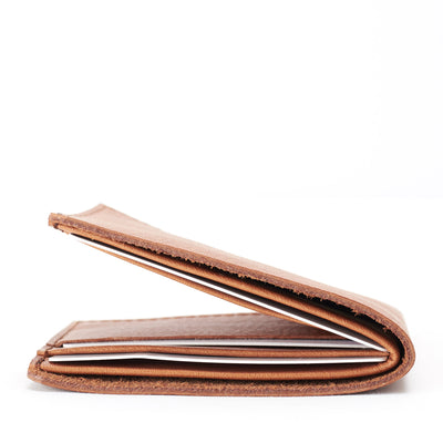 Slim profile. Leather light brown slim wallet gifts for men handmade accessories. minimalist full grain leather thin wallet