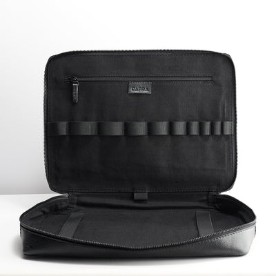 Linen interior. Men's 15 inch handmade black tech laptop tablet bag for travelers.