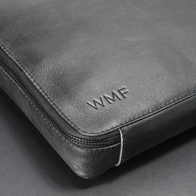 Custom monogram. Men's 15 inch handmade black tech laptop tablet bag for travelers.