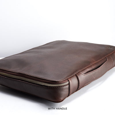 15 inch brown leather travel laptop bag with handle.