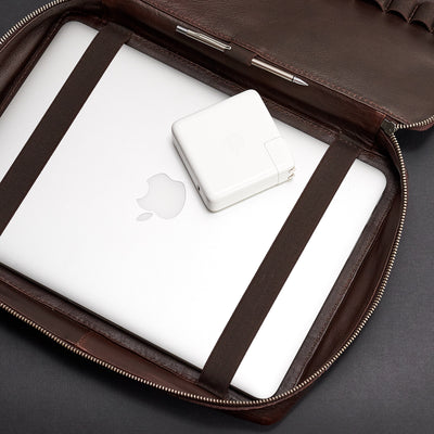 Macbook bag.  Handmade dark brown tech laptop 15 inch tablet bag is perfect for a business travel.