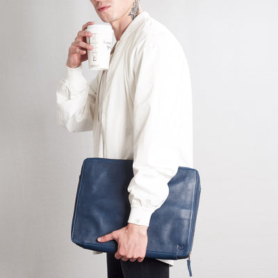 Style tech bag and coffee .handmade blue leather tech laptop tablet bag is perfect to travel organized.