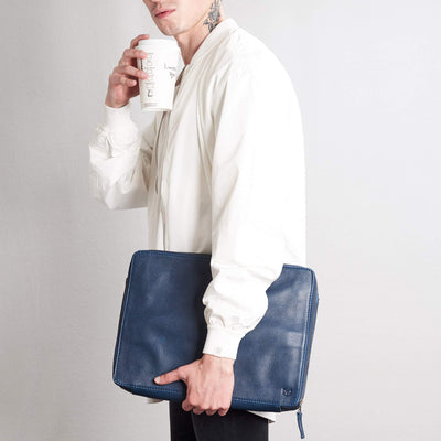 Style coffee and tech bag accessory. Men's handmade blue leather 15 inch tech laptop tablet bag is perfect to travel organized.