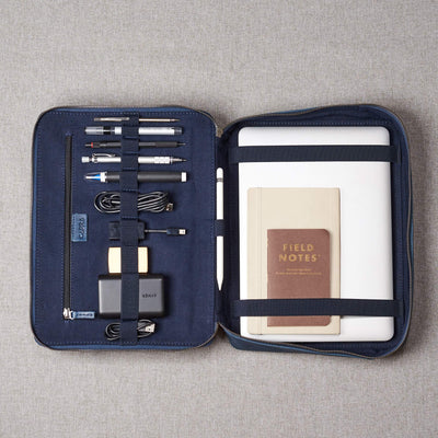 Frontal picture with gadgets and EDC. Men's handmade blue leather 15 inch tech laptop tablet bag is perfect to travel organized.