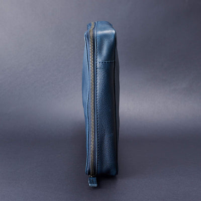 Side volume. Men's handmade blue leather 15 inch tech laptop tablet bag is perfect to travel organized.