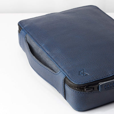 Handle detail. Men's handmade blue leather 15 inch tech laptop tablet bag is perfect to travel organized.