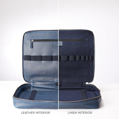 Optional leather or linen interior. Men's handmade blue leather 15 inch tech laptop tablet bag is perfect to travel organized.