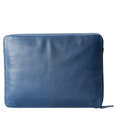 Frontal view .handmade blue leather tech laptop tablet bag is perfect to travel organized.