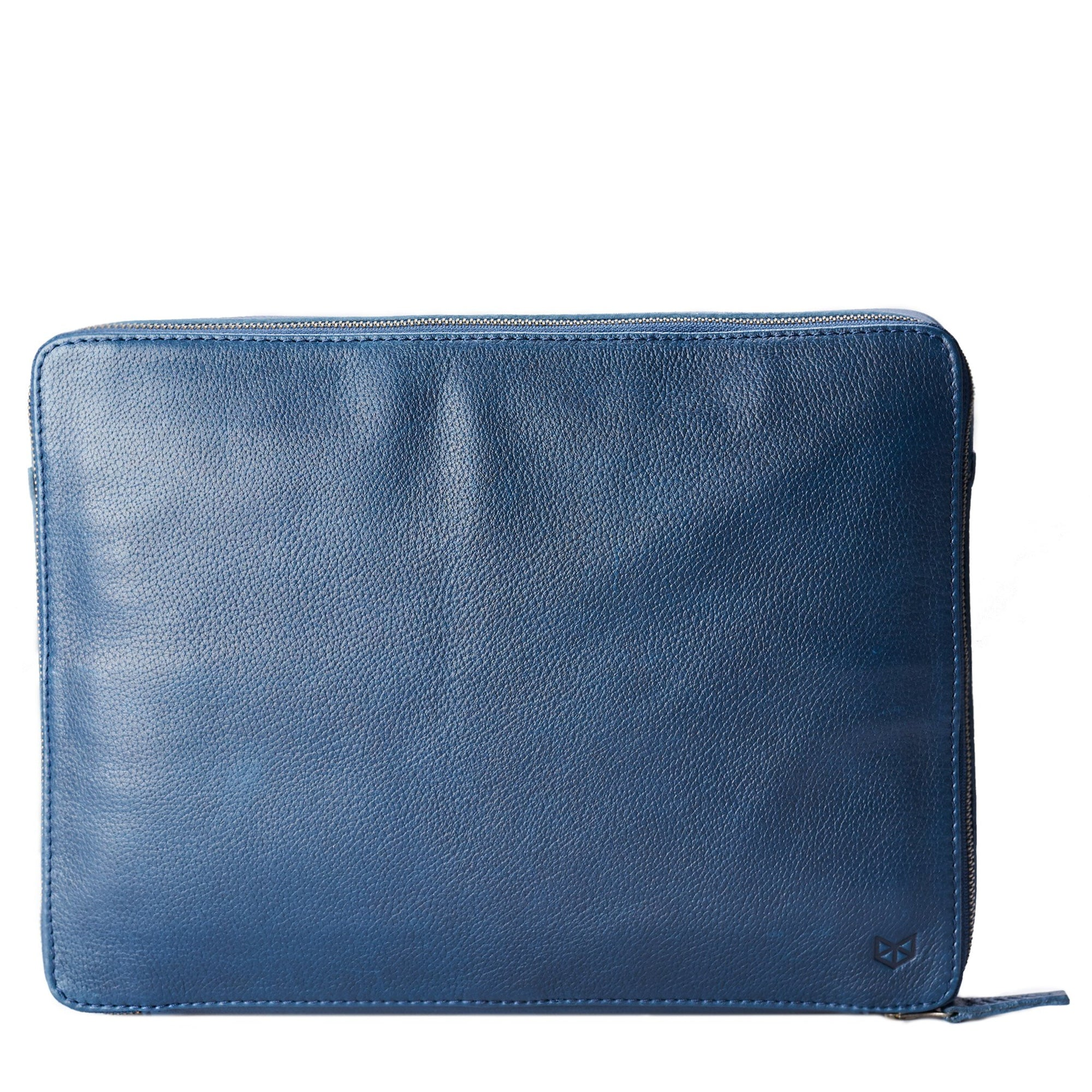 Men's handmade blue leather 15 inch tech laptop tablet bag is perfect to travel organized.