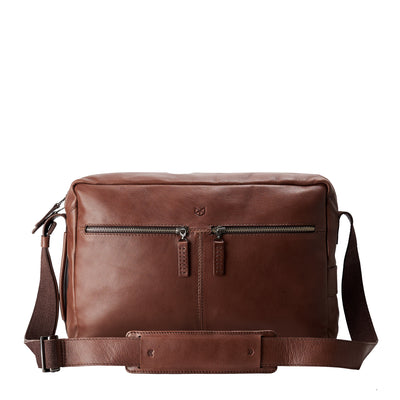 Front brown handmade leather messenger bag for men. Commuter bag, laptop leather bag by Capra Leather.