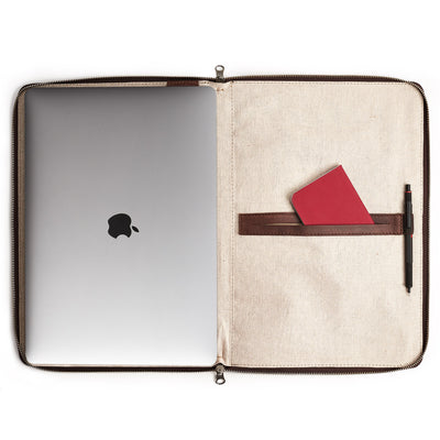 Interior. 100% linen interior. Brown Leather Laptop Portfolio Case. Laptops & devices Bag.