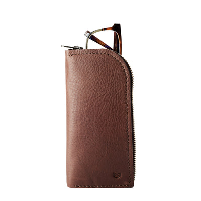 Gifts for men. Brown leather Glasses case, sunglasses case, hand stitched leather sleeve for reading glasses