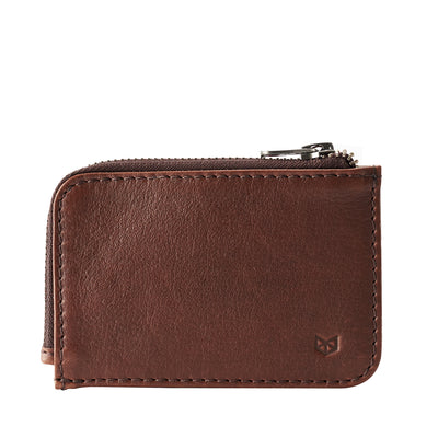Cover. Minimalist brown zipper card holder. Men's bills and coins wallet. Slim designer credit cards holder