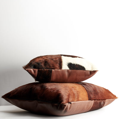 Different sizes. Brown Dual Leather Cowhide Cushion. Couch decoration, lounge, bench, sofa cushion covers, custom size, pillow.