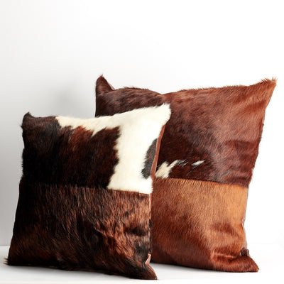 Big small cushion. Brown Dual Leather Cowhide Cushion. Couch decoration, lounge, bench, sofa cushion covers, custom size, pillow.