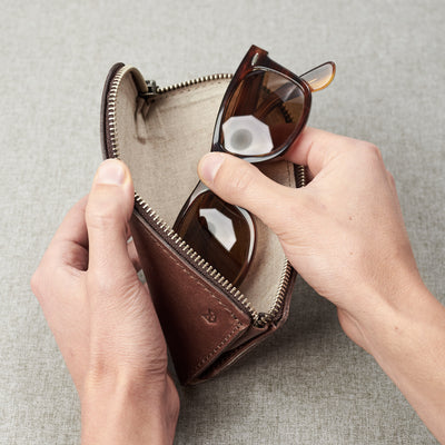 Linen Interior with sunglasses. Brown leather glasses case for men. Eye glasses sleeve for mens gifts