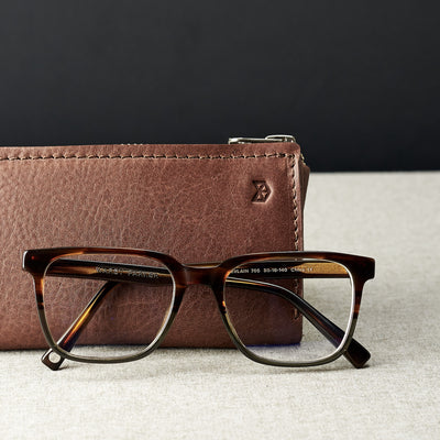Style photo. Brown leather glasses case for men. Eyewear mens leather cases