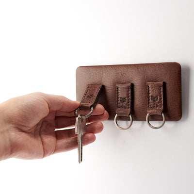 Magnetic key hanger organizer. Brown leather magnetic key holder for wall decor. Entryway organizer decor. Home decoration. Keys organizer
