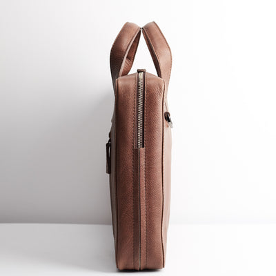 Slim profile. Brown leather briefcase for men. Office style mens workbag