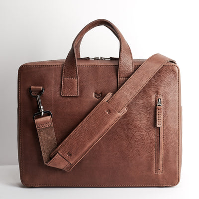 Extra padded shoulder strap. Brown leather briefcase, Macbook Pro 13inch 15inch inside pocket