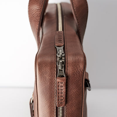 YKK zipper detail. Brown leather briefcase for mens gifts. Custom office bag