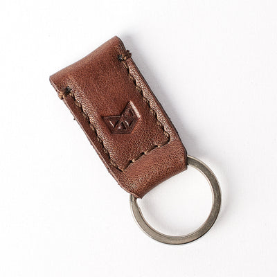 Small brown leather magnetic keychain for mens gifts