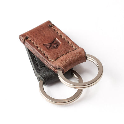 Joined magnet leather key fobs. Brown leather magnetic keychain for mens gifts