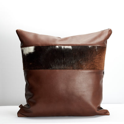 Back. Handmade dual leather cowhide cushion. Perfect lounge decoration. Custom size. Personalized gifts for men. Capra Leather