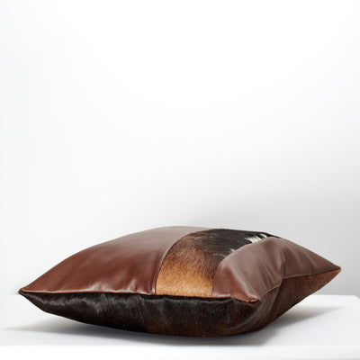 Brown Dual Leather Cowhide Cushion. Couch decoration, lounge, bench, sofa cushion covers, custom size, pillow.