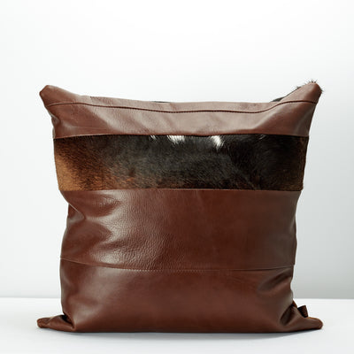 Back pattern. Brown Dual Leather Cowhide Cushion. Couch decoration, lounge, bench, sofa cushion covers, custom size, pillow.