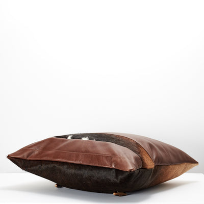 Up side down. Brown Dual Leather Cowhide Cushion. Couch decoration, lounge, bench, sofa cushion covers, custom size, pillow.