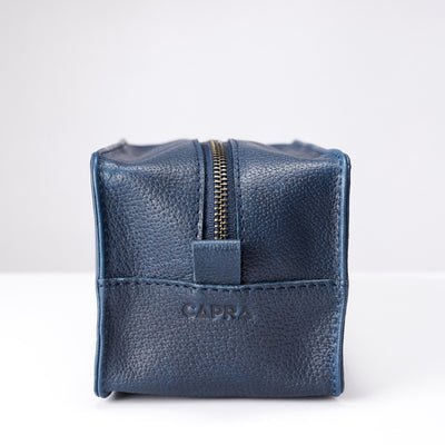 Zipper. Ocean blue leather toiletry, shaving bag with hand stitched handle. Groomsmen gifts. Leather good crafted by Capra Leather