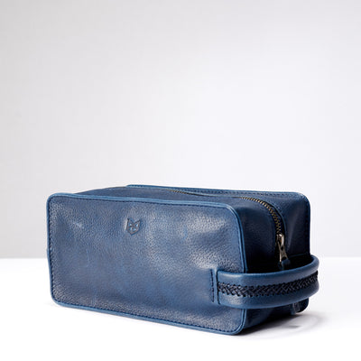 Sided. Ocean blue leather toiletry, shaving bag with hand stitched handle. Groomsmen gifts. Leather good crafted by Capra Leather