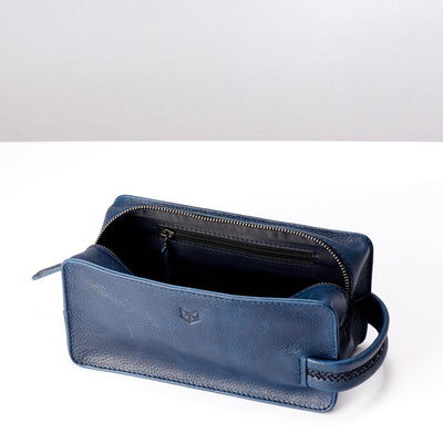 Pocket. Ocean blue leather toiletry, shaving bag with hand stitched handle. Groomsmen gifts. Leather good crafted by Capra Leather