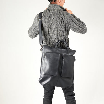 Style shoulder strap use. Black tote zipper bag by Capra Leather. Handmade men work bag.