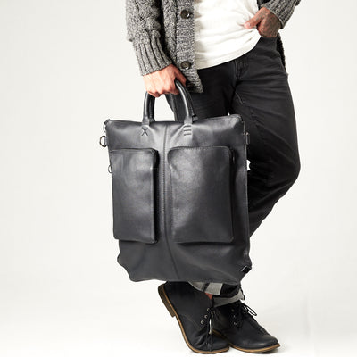 Style cylinder handles. Black tote zipper bag by Capra Leather. Handmade men work bag.