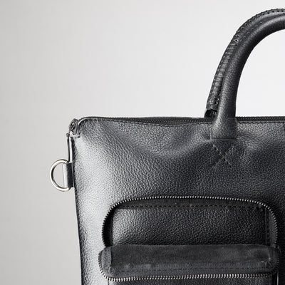 Suede pocket detail. Black tote zipper bag by Capra Leather. Handmade men work bag.