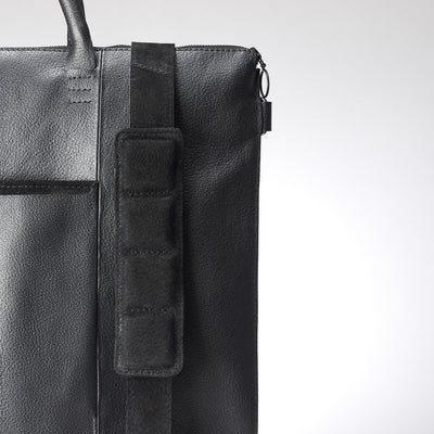 Extra padded shoulder strap. Black tote zipper bag by Capra Leather. Handmade men work bag.