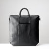 Back pocket. Black tote zipper bag by Capra Leather. Handmade men work bag.