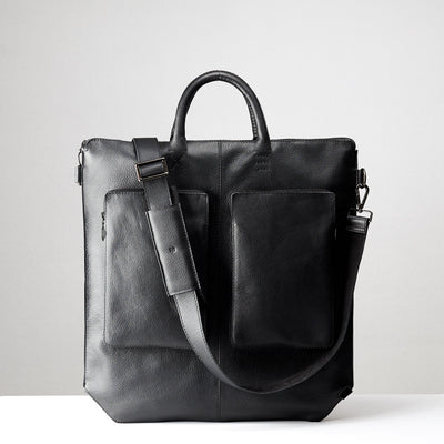 Detachable shoulder strap. Black tote zipper bag by Capra Leather. Handmade men work bag.