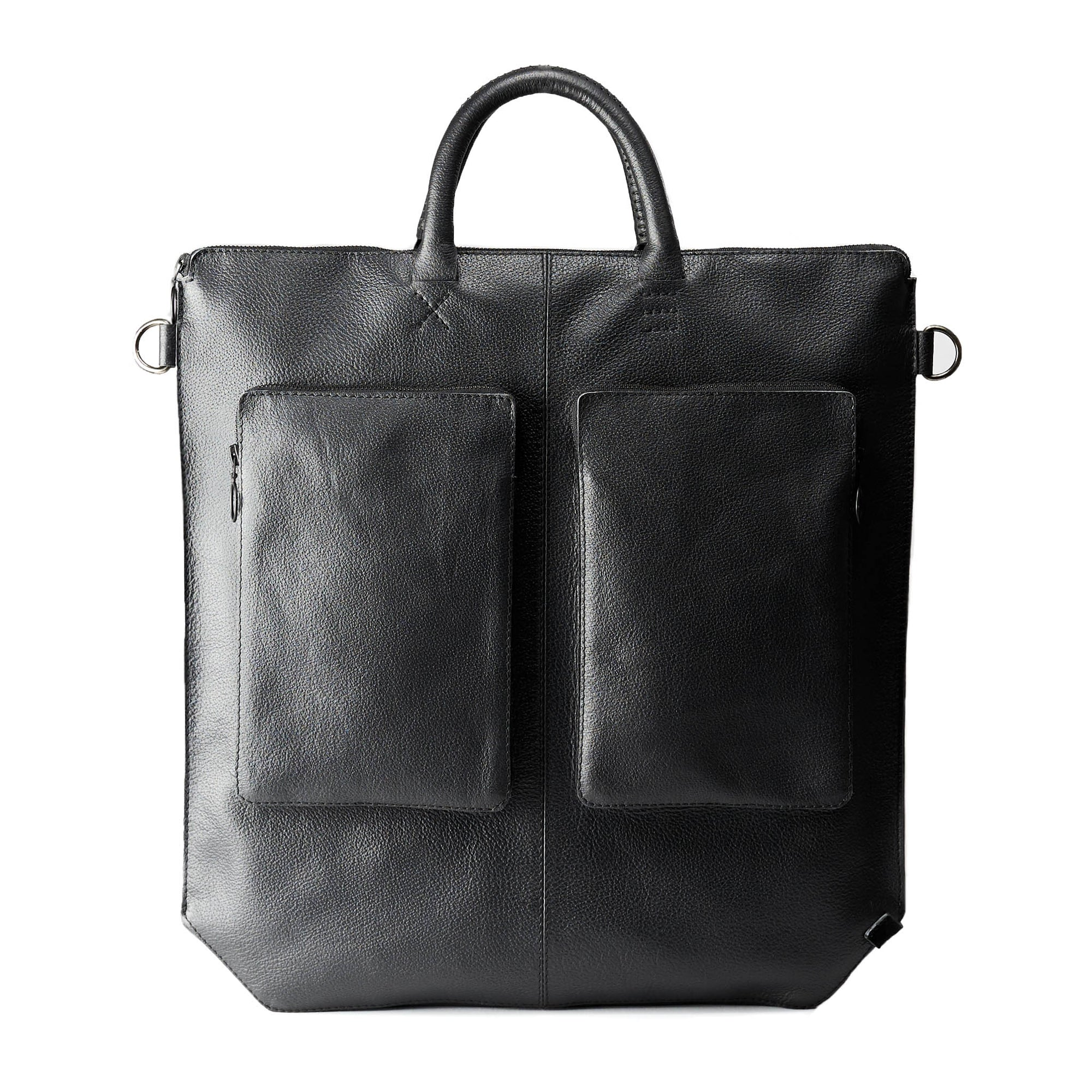 Front side in leather. Black tote zipper bag by Capra Leather. Handmade men work bag.